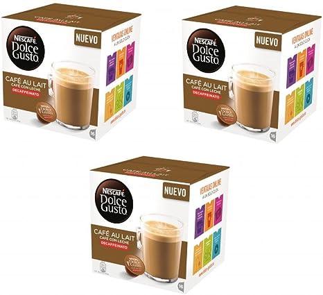 Nescafé Dolce Gusto Café con leche descafeinado, Pack de 3 x 16 ...