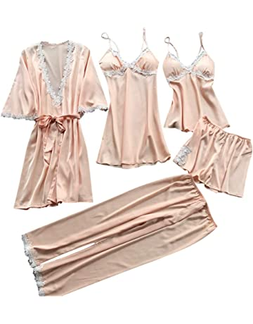 Womens Sexy Lace Lingerie Satin V-Neck Nightwear Babydoll Sleepwear Robe Dress Kimono Set 5PCs