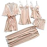 ملابس نوم نسائية دانتيل من فانكل مكونة من 5 قطع - روب ساتان + ثوب نوم + مجموعة بيجامة قصيرة + سروال طويل