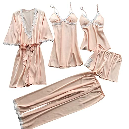 Swyss Women s Sleepwear Sexy Lace Trim Satin 5 Piece Robe + Nightgown +  Camisole Shorts Pajama 09ac821935f
