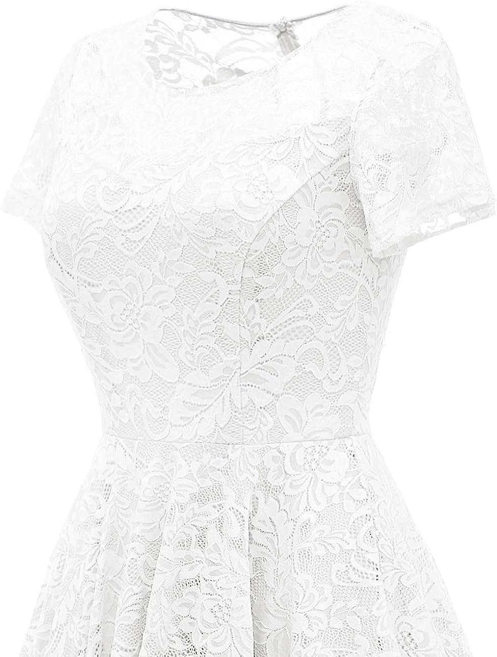 Bridesmay Womens Short Sleeve Floral Lace Asymmetrical Hem Cocktail Bridesmaid Dress