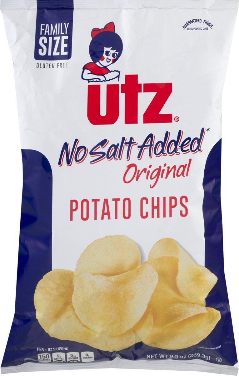 UTZ No Salt Added Potato Chips 9.5 Ounces (Pack of 10)
