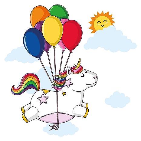 Pegatina de pared Pegatina para la pared del cuarto de las niñas Unicornio volador con globos