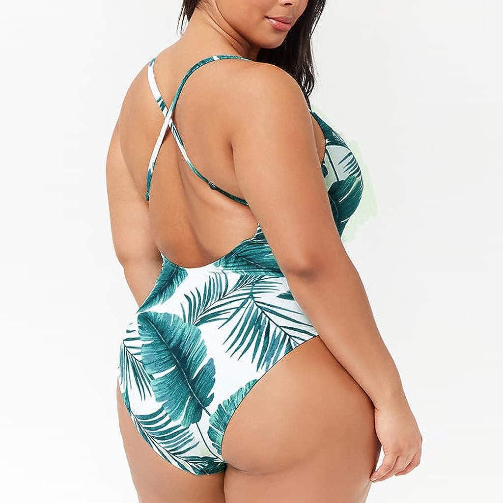 Bikinis Mujer,Dragon868 Tallas Grandes Mujer One Piece v Cuello Deja Traje de ba/ño Monokini Estampado