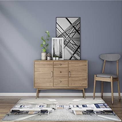 antidérapant Zone Tapis Moderne Salon avec cheminée sans ...