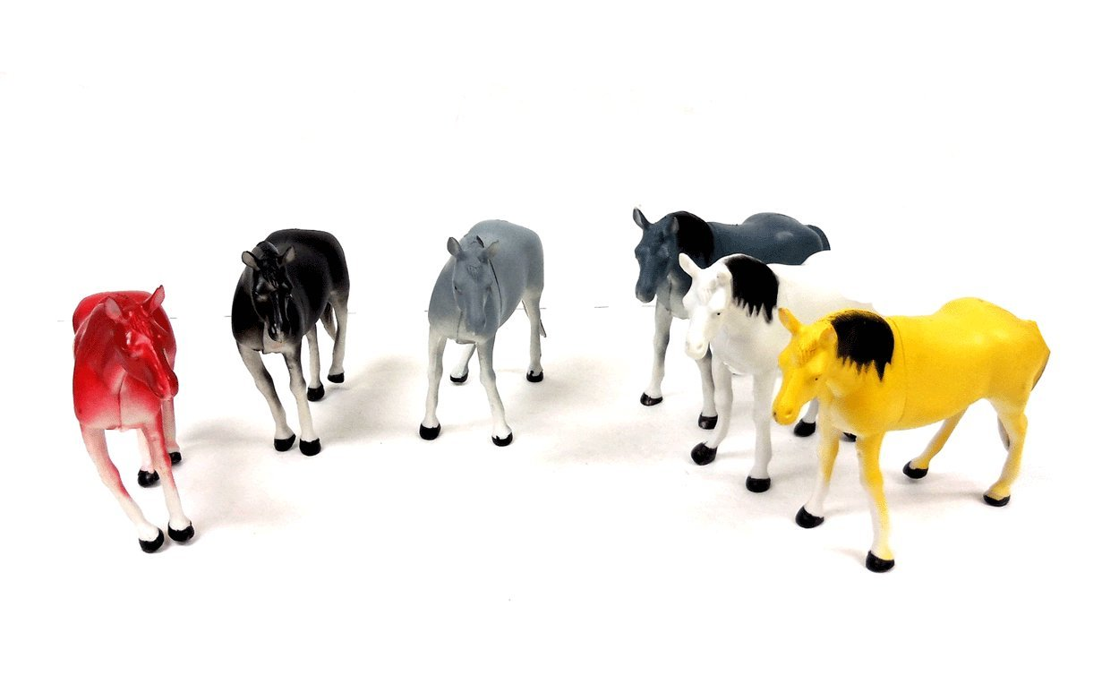 THE UM24 Animal World Toy Horse Animals Figures Large Size 6 Piece Assorted Colors