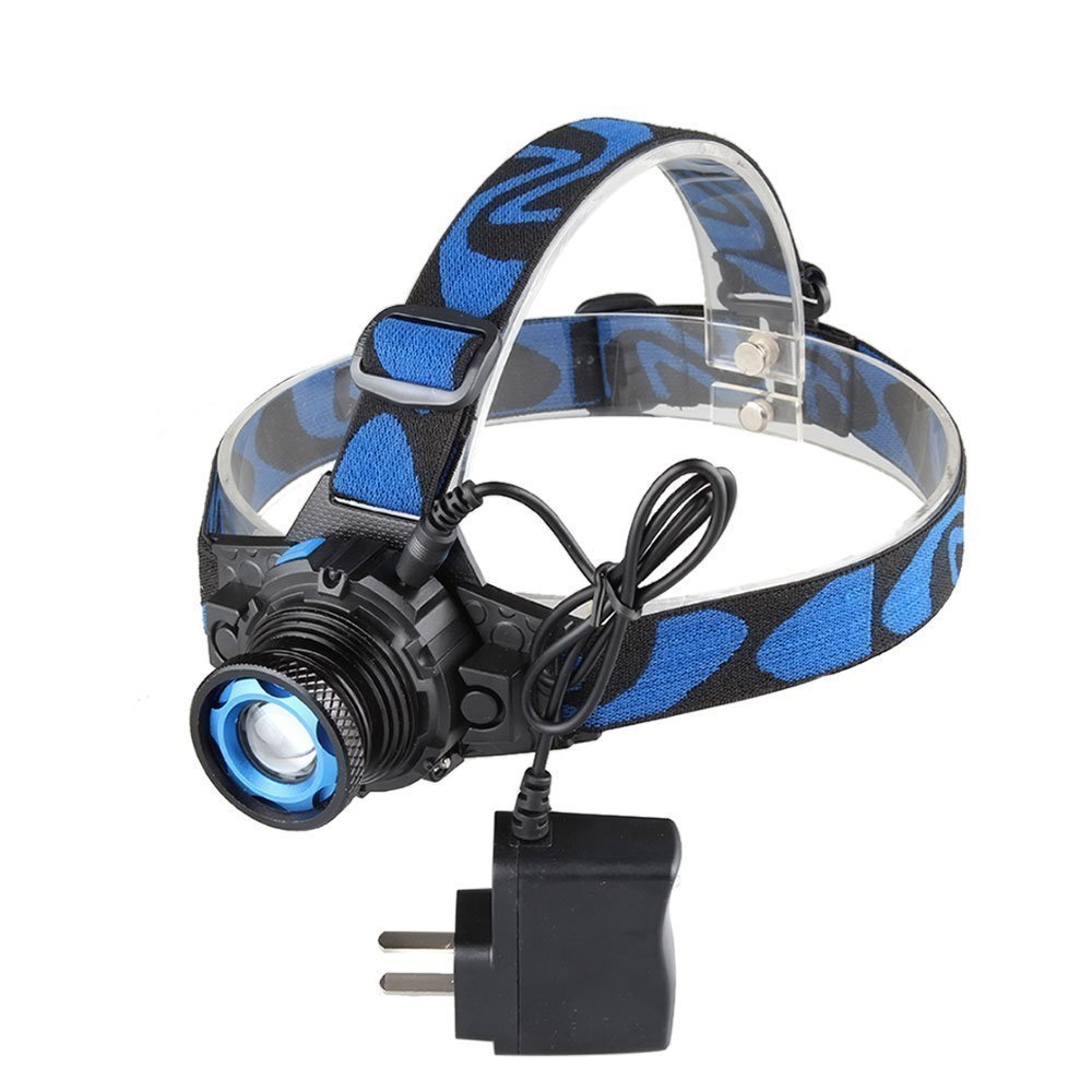 WINDFIRE Zoomable Super Bright CREE LED Headlamp 3 Modes Adjustable Focus Head Torch Light Flashlight with AC Charger for Hiking, Camping, Riding with Built-in Li-ion rechargeable battery