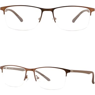 1464bb9af8 Image Unavailable. Image not available for. Color  Wide Square Light Men s  Titanium Frames Half Rim Metal Prescription Glasses Brown
