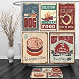 Vipsung Shower Curtain And Ground Mat1950s Decor by Nostalgic Tin Signs and Retro Mexican Food Prints Aged Advirtising Logo Style Artistic MultiShower Curtain Set with Bath Mats Rugs