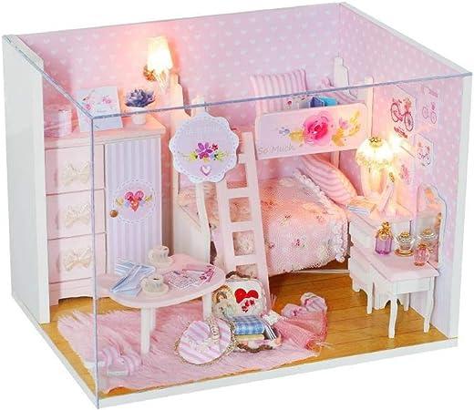 Jardín de rosas miniatura dollhouse habitación kits de accesorios para muebles casa de bricolaje con L