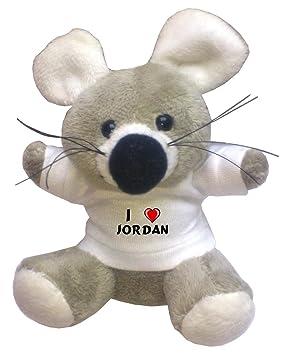 Llavero de ratoncito de peluche con Amo Jordan en la camiseta