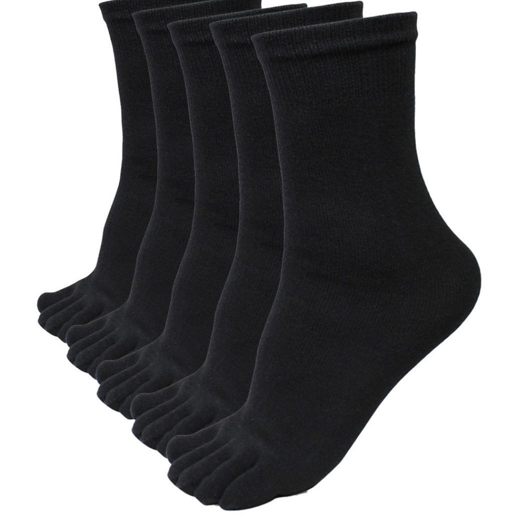 Tenworld 5 Pairs Men Sports Running Five Finger Toe Socks Elastic Short Soild Socks