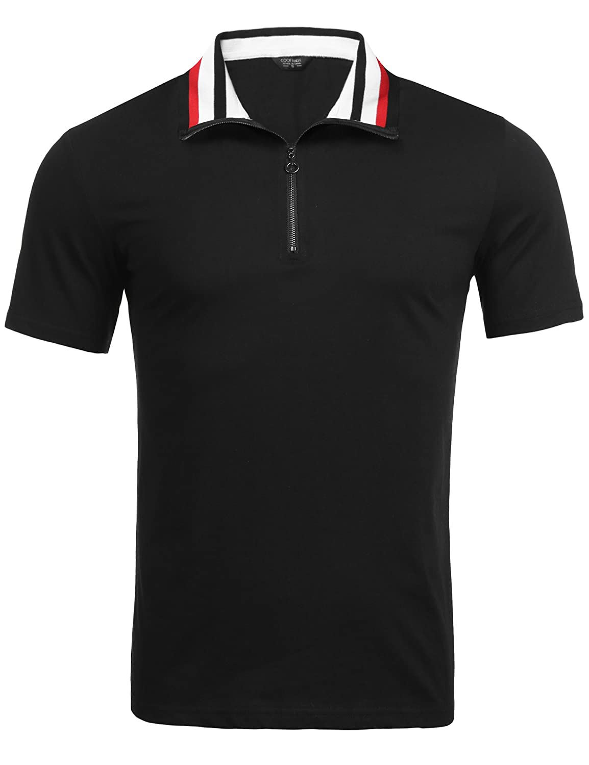 1950s Men's Clothing COOFANDY Mens Short Sleeve Polo Shirts Slim Fit Golf Shirt Quarter Zip Polo T-Shirts $21.99 AT vintagedancer.com
