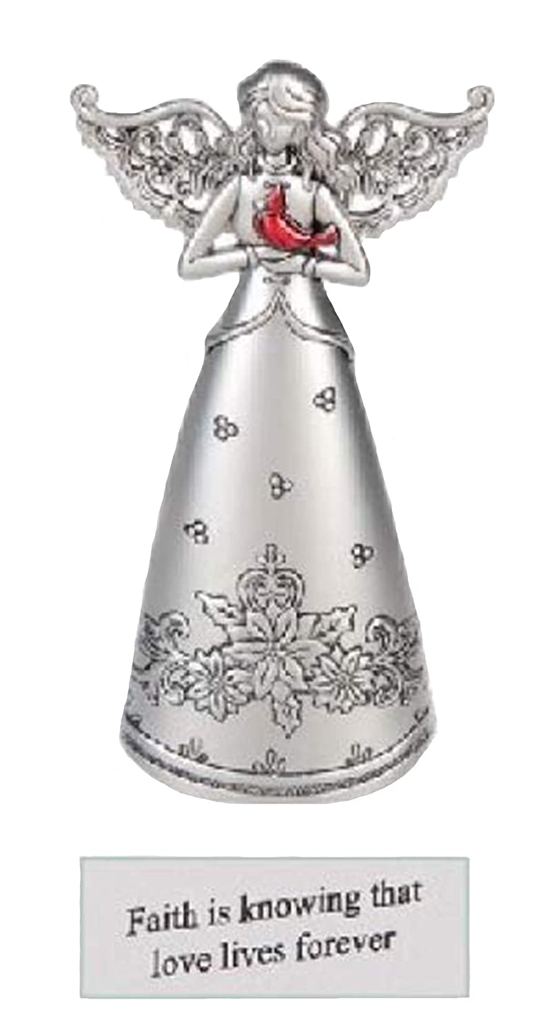 Ganz Memorial Remembrance Cardinal Silver Angel Figurines ~ Angel of Eternal Love (Faith is Knowing That Love Lives Forever)