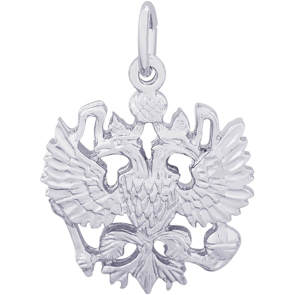 Rembrandt Charms 14K White Gold Russian Eagle Charm on a 14K White Gold Box Chain Necklace, 20'' by Rembrandt Charms (Image #2)