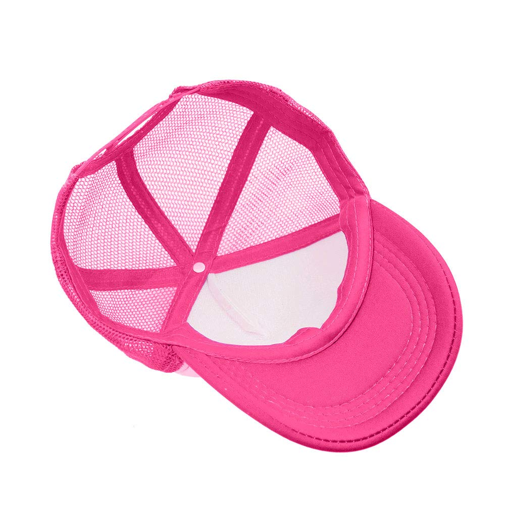Opromo Kids Two Tone Mesh Curved Bill Trucker Cap, Adjustable Snapback, 14 Colors-Hot Pink/White-1 Pieces by Opromo (Image #5)