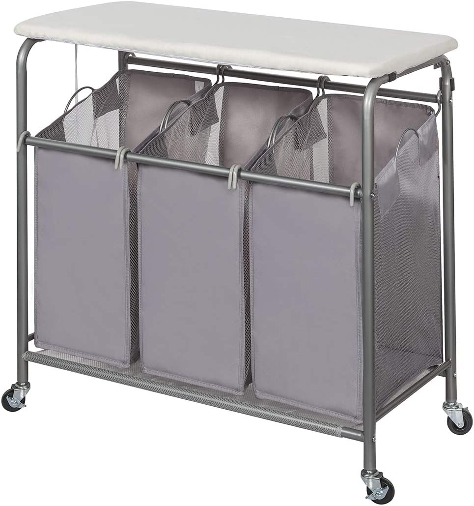 STORAGE MANIAC Laundry Sorter with Ironing Board 3-Section Heavy-Duty Rolling Laundry Cart with Free Laundry Hamper, Grey