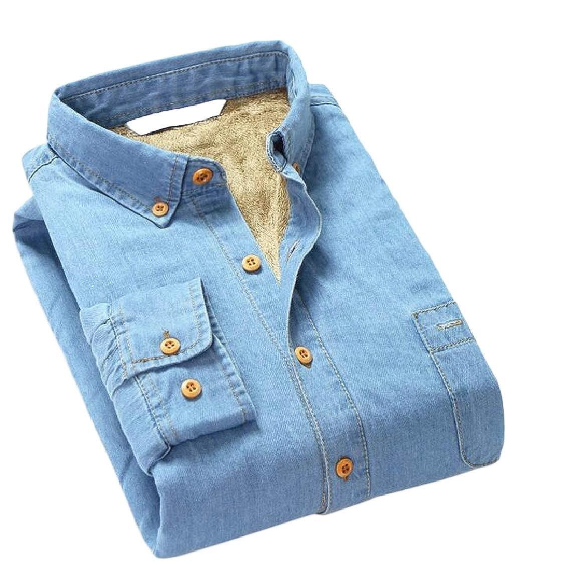Jmwss QD Mens Winter Slim Fleece Lined Long Sleeve Denim Shirt Button Down Shirt