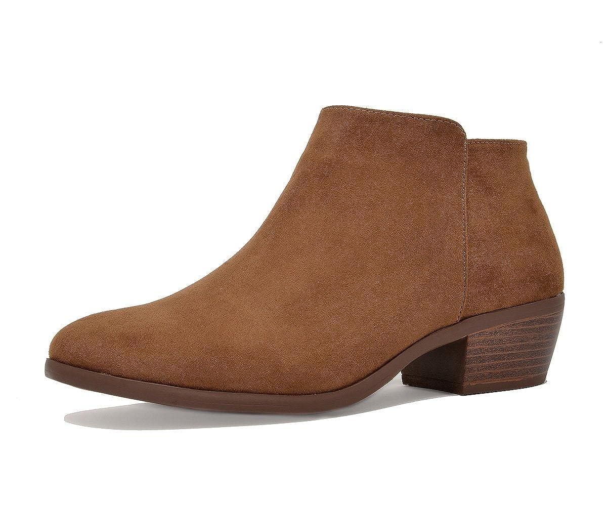 01-TAN SUEDE TOETOS Women's Cowboy Block Heel Side Zipper Ankle Booties