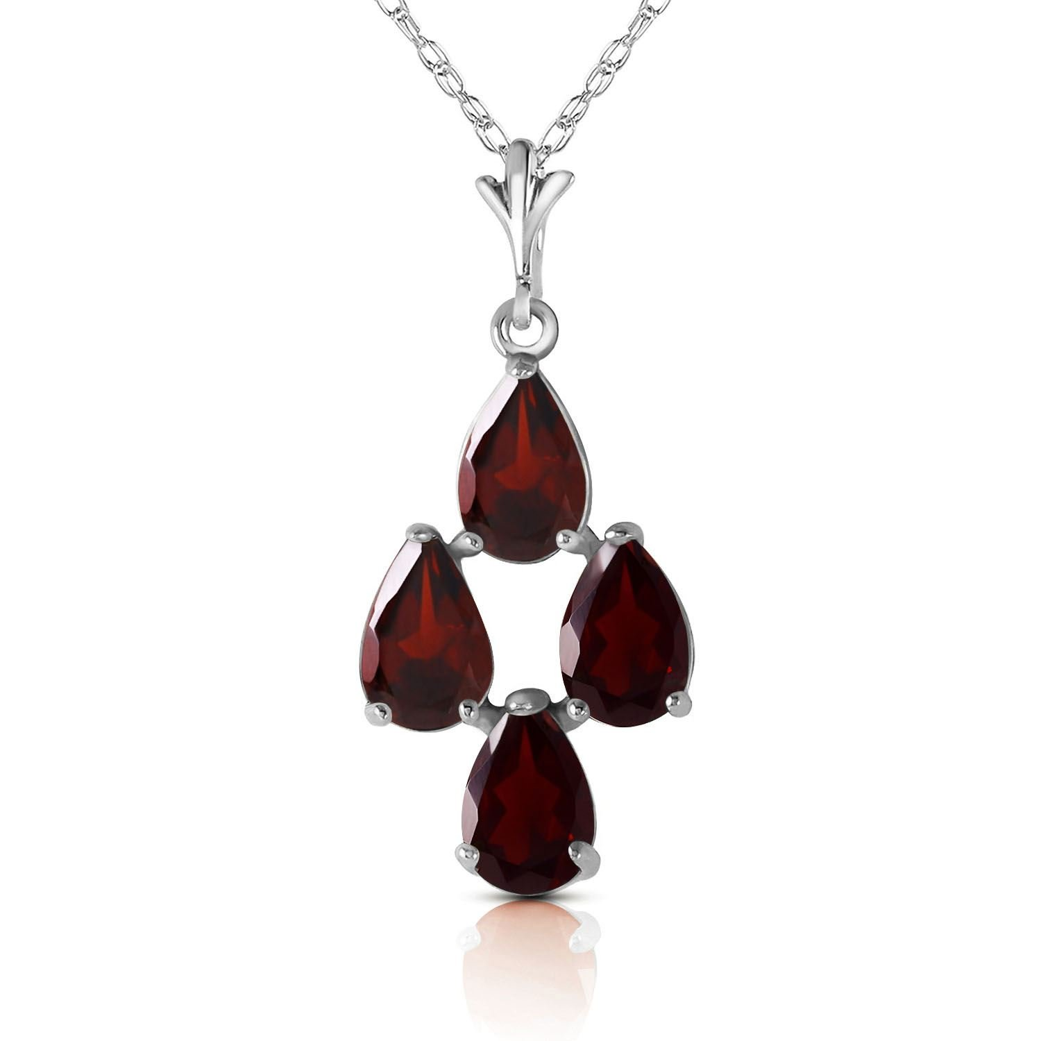 ALARRI 1.5 Carat 14K Solid White Gold Night Out Garnet Necklace with 20 Inch Chain Length