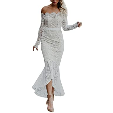 34609bbfeeed WYTong Women's Off Shoulder Asymmetrical Mermaid Lace Dress Formal Dresses  Elegant Bodycon Evening Dress (S