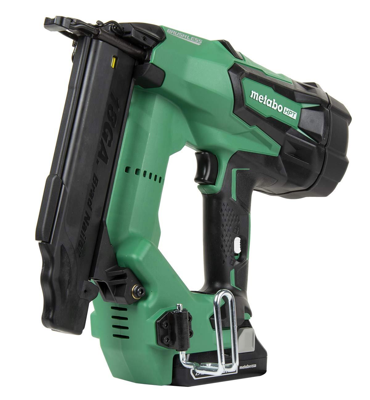 Metabo HPT Cordless Brad Nailer Kit Unique Air Spring Drive System 18V Brushless Motor 18 Gauge 5 8 to 2 Brad Nails Compact 3.0 Ah Lithium Ion Battery Lifetime Tool Warranty NT1850DE