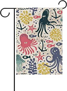 ALAZA Funny Octopus Fish Decorative Garden Flag 12 x 18 inch Double Sided Yard Flag