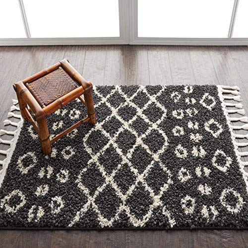 Nourison MRK02 Marrakesh Shag Black Plush Area Rug 2'2