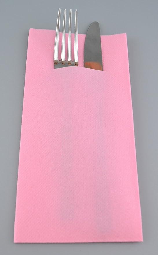 Servietten Bestecktasche XL fertig gefaltet hell lila 10 Stück