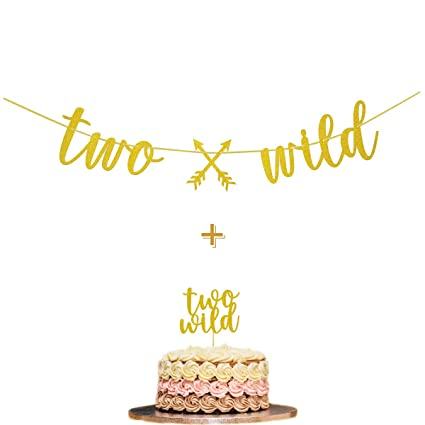 Fadilo Two Wild Gold Glitter Banner Sign Cake Topper Boho Tribal Themed