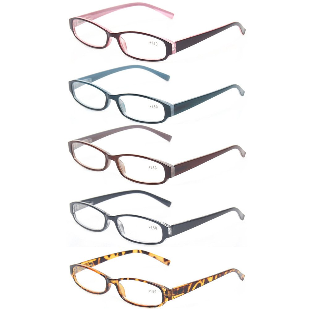 Reading Glasses Comb Pack of Multiple Fashion Men and Women Spring Hinge Readers (5 Pack Mix Color, 1.75) by Kerecsen