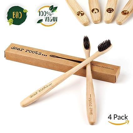 Bambú Cepillo de dientes de 4 set - Mano Cepillo de dientes con mango de madera