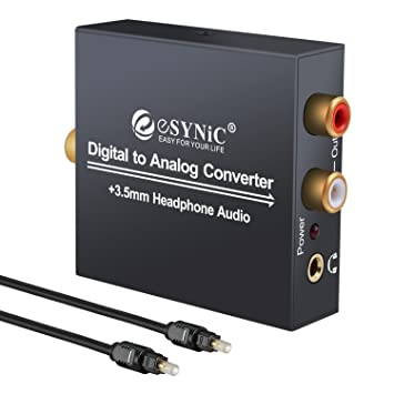 ESYNiC DAC Convertidor Digital a Analógico con Cable Coaxial/ Óptica a RCA Toslink y SPDIF