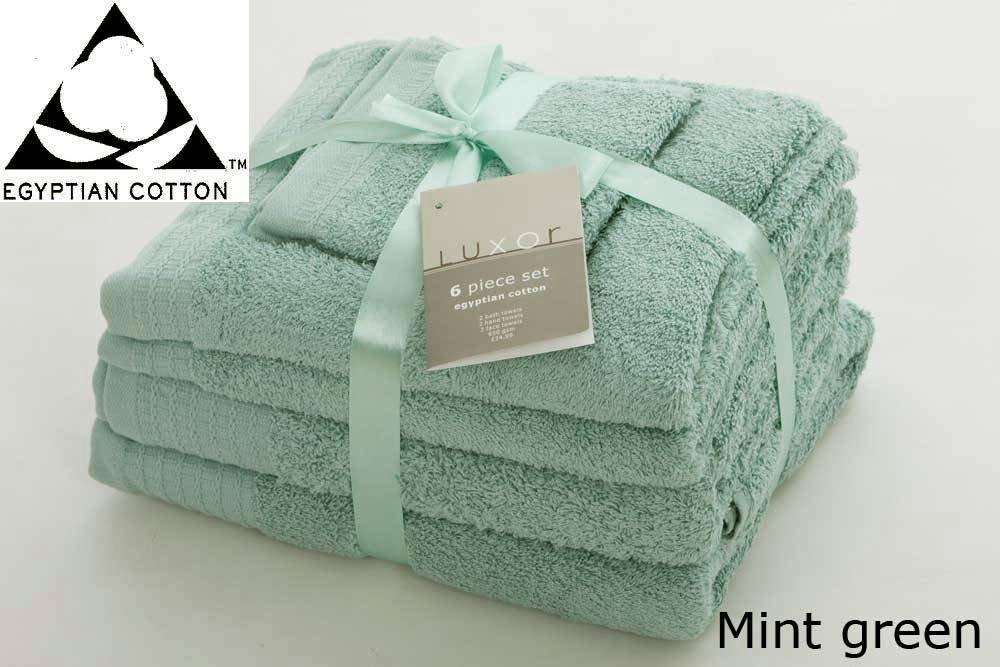 MINT GREEN 650gsm 6pc Prestige 'Luxor' Egyptian Cotton Towel Bale Bundle Gift Set Viceroybedding