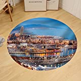 Gzhihine Custom round floor mat Barcelona City and Port in Evening. Catalonia Spain
