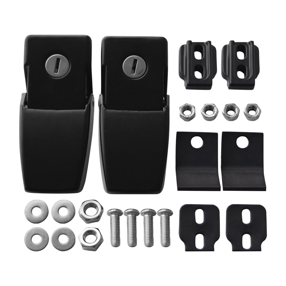 IPARTS Anti-Thief Security Hood lock kit for Jeep Wrangler 2007-2017 Rubicon Sahara Sport JK JKU a pair Locking Hood Look Catch Latches Kit