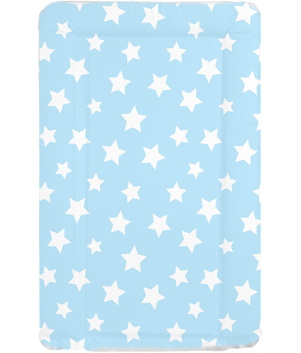 Deluxe Unisex Baby Waterproof Wipeable Changing Mat with Raised Edges - Blue with White Stars babieswithlove