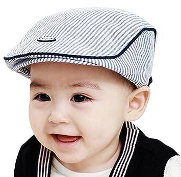 d6c690aa Ularma Adorable Baby Infant Boy Girl Stripe Beret Cap Peaked Baseball Hat  (Blue)
