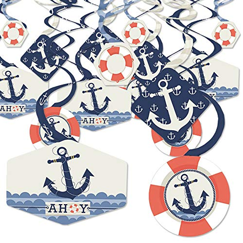 Nautical Hanging Decorations (Ahoy - Nautical - Baby Shower or Birthday Party Hanging Decor - Party Decoration Swirls - Set of)