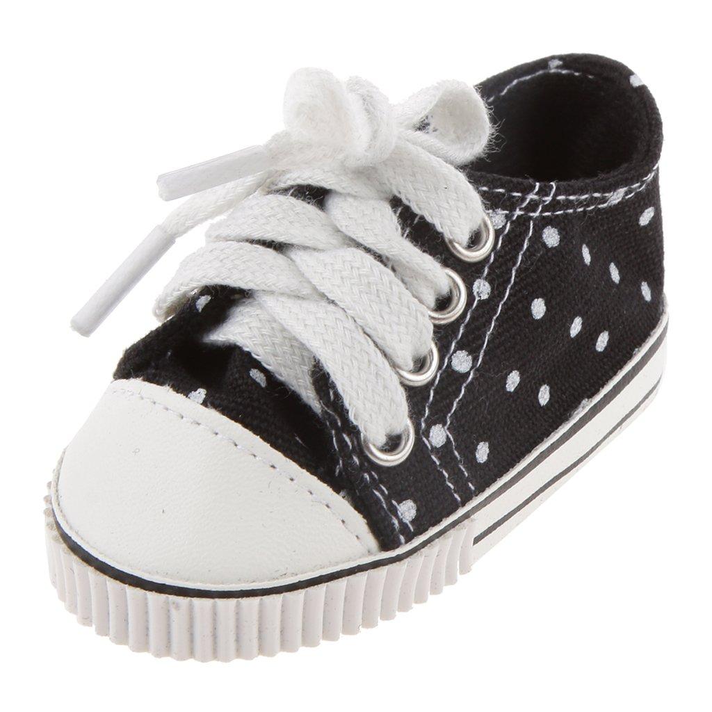 1 Par Zapatos Zapatillas de Deporte Negro para Muñecas American Girl Moda Genérico
