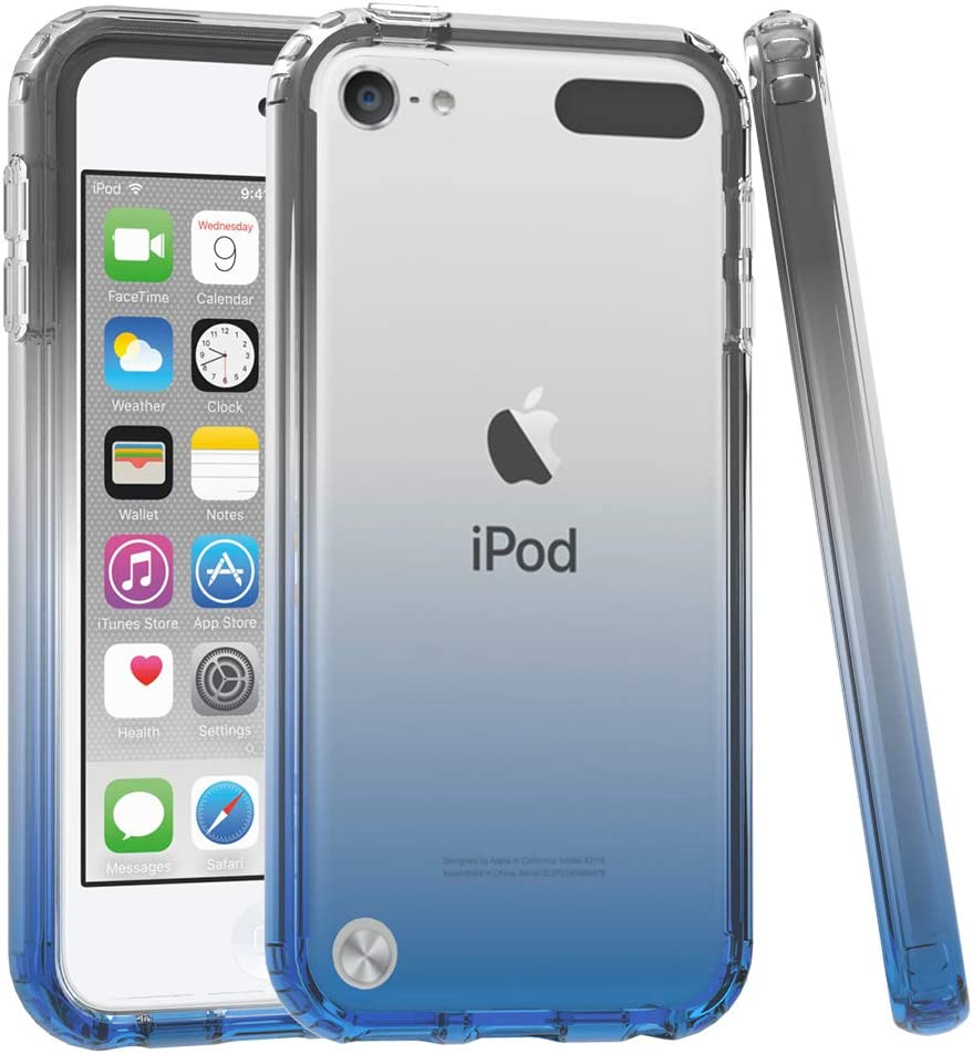 iPod Touch 5/6th Case, iPod Touch 7th Case, Dual Layer Armor Defender Case Full-Body Transparent Clear Heavy Duty Shock Resistant Hybrid Rugged Cover for Apple iPod Touch 5/6 Touch 7 - Black Blue