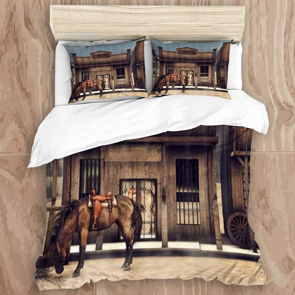 "NIKIVIVI Duvet Cover,Native American Western Cowboy Wild West Town Scenery Animals Horse in Front of Rustic Wooden Bank,Modern Style Customize Bedding Set Softness 2 Pillowcases,King Size 104"" 88"""
