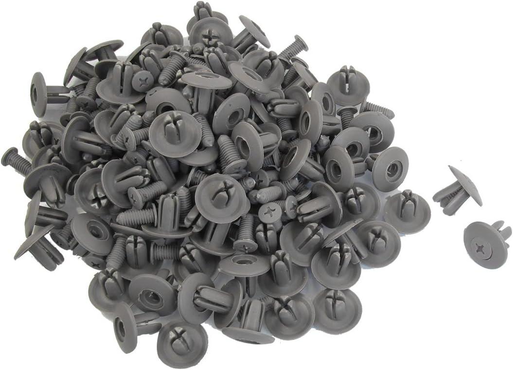 Sourcingmap Lot de 100 Poussoir 8 mm Trou de Panneau de Garniture de Porte en Plastique Rivet en Plastique Gris