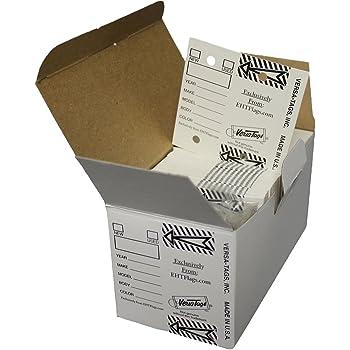 Donkey Key Tags 250 Tags Per Box with Metal Rings Laminated Self-Protecting