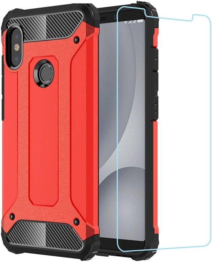 DESCHE para Funda Xiaomi Redmi Note 5, Hard PC Soft TPU 2 en 1 360 Armadura Protectora Funda Resistente a los arañazos a Prueba de Golpes Funda Duradera para teléfono + Vidrio Templado -Rojo