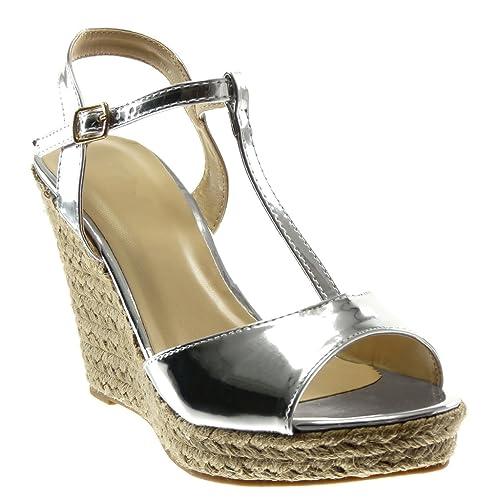 910efec1440a43 Angkorly Chaussure Mode Sandale Mule Plateforme Salomés Lanière Lanière