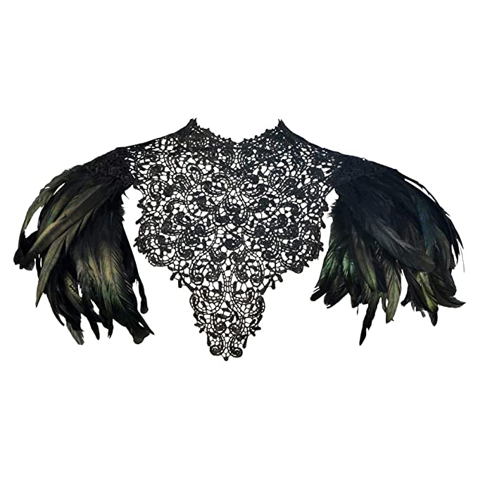 Victorian Capelet, Cape, Cloak, Shawl, Muff HOMELEX Gothic Victorian Black Natural Feather Lace Cape Shawl Shoulderpad $29.99 AT vintagedancer.com