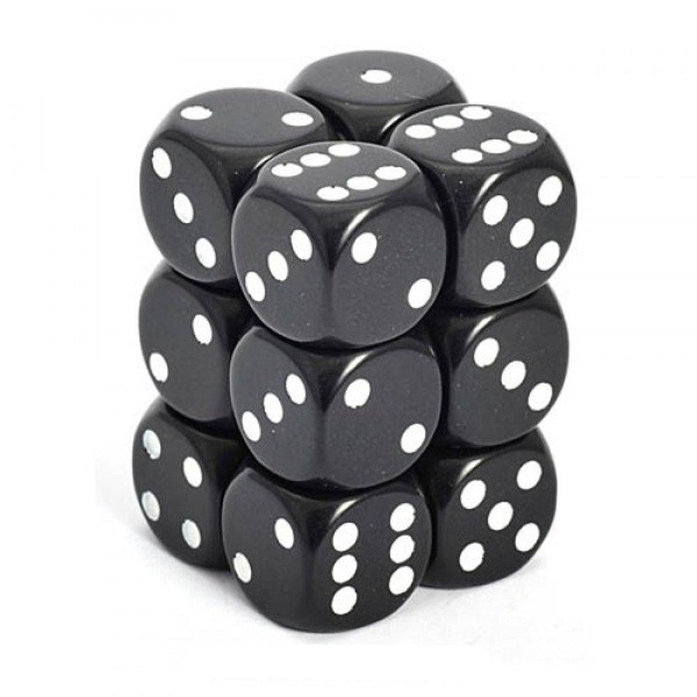 Chessex 25608 - Würfelset opaque schwarz/weiß, 12 6-seitige Würfel (16mm) Würfel