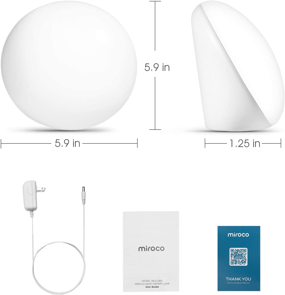 Miroco Light Therapy Lamp, UV-Free 10000 Lux LED Bright White Therapy Light, Touch Control with 3 Adjustable Brightness Levels, Memory Function & Compact Size for a Happy Life
