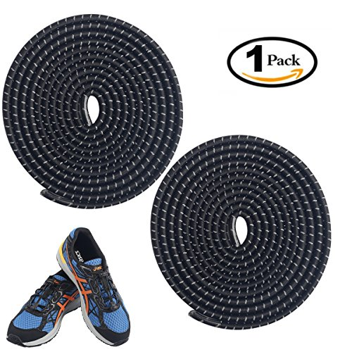 No Tie shoelaces, Komking Tieless shoelaces Stretch shoelaces Trim To Fit Design Athletic Shoelaces for All Types shoes (Black) (Black Silk Elastic Footwear)